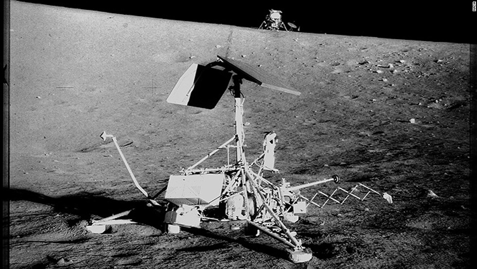 "Surveyor 3 spacecraft landed on April 20, 1967, to support the coming crew of Apollo 12. The objective of the Surveyor 3 was to provide data for research on ""soft landings."""