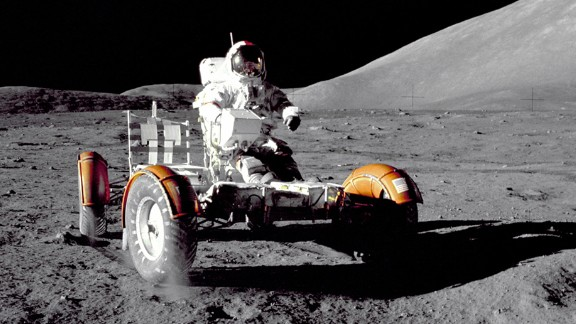 Apollo 17 mission commander Eugene A. Cernan makes a short checkout of the Lunar Roving Vehicle during the early part of the first Apollo 17 extravehicular activity at the Taurus-Littrow landing site.