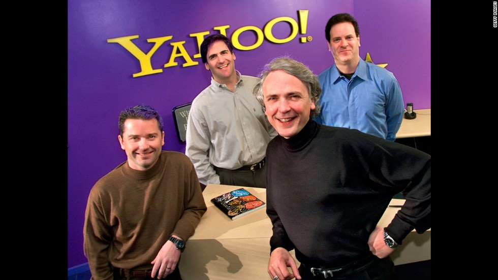 "In its last big purchase in April 1999, <a href=""http://money.cnn.com/1999/04/01/deals/yahoo/"" target=""_blank"">Yahoo bought broadcast.com</a>, the leading video and audio broadcaster at the time, for $5.7 billion in stock. Pictured in front, Yahoo's then President Jeff Mallett, left, and CEO Tim Koogle; in back, Broadcast.Com Inc.'s then president, Mark Cuban and then CEO, Todd Wagner, celebrate the announcement of the acquisition, April 1999."