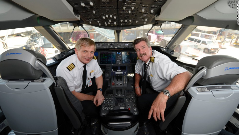 United Airlines Capts. Neils Olufsen and Bill Blocker piloted the Dreamliner's domestic return to flight on Monday.