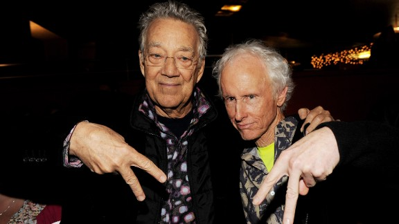 """Ray Manzarek, left, and Krieger of The Doors strike a pose at the screening of """"The Doors Mr. Mojo Risin': The Making of L.A. Woman"""" at the Egyptian Theater in Los Angeles on January 20, 2012."""