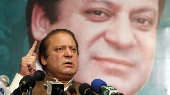 Pakistan's incoming Prime Minister Nawaz Sharif addresses his party's newly elected MPs in Lahore on May 20, 2013. Arif Ali/AFP/Getty Images