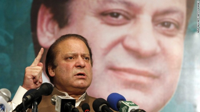 Pakistan's incoming Prime Minister Nawaz Sharif addresses his party's newly elected MPs in Lahore on May 20, 2013.