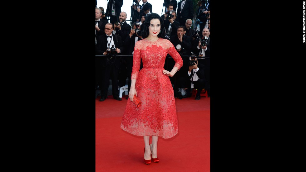 "Dita Von Teese attends the Cannes premiere of ""Cleopatra"" on May 21."