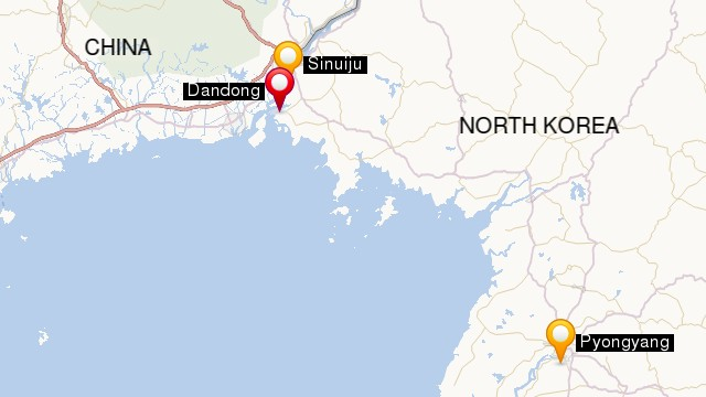 Sinuiju is the North Korea border town opposite Dandong
