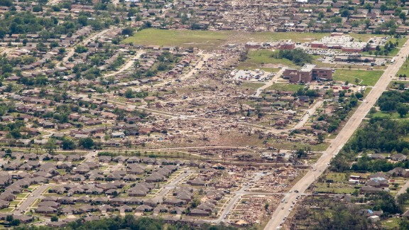The tornado tore through the Oklahoma City suburbs, hitting the town of Moore the hardest. It packed winds that topped 200 mph.