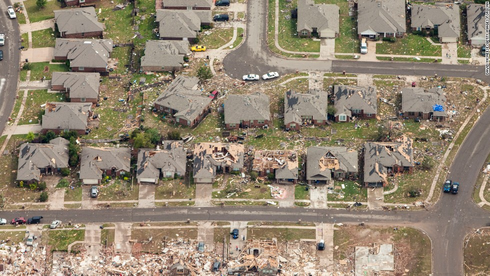 In some areas, the homes of an entire street were destroyed.