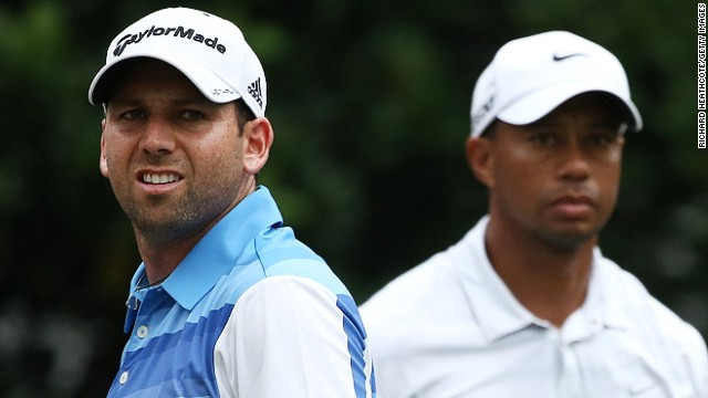 Sergio Garcia (L) and the world No. 1 Tiger Woods have become embroiled in a very public spat
