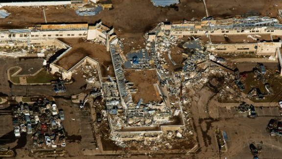 An aerial view shows Moore Medical Center on May 21, the day after the tornado.