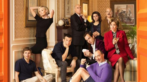 """In the cult TV favorite """"Arrested Development,"""" Tony Hale (wearing purple) plays Byron """"Buster"""" Bluth, the awkward and smothered son of George Sr. and Lucille Bluth. His home base is Mom's apartment."""
