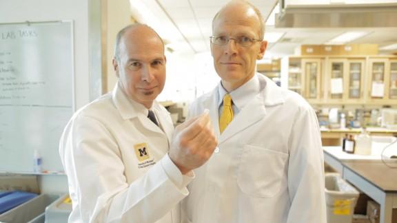 University of Michigan researchers Scott Hollister, left, and Dr. Glenn Green developed Kaiba's splint.