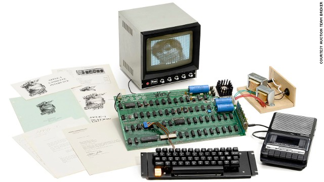 "A rare Apple 1 computer is to be auctioned in Cologne, Germany. The original Apple was the first computer to be built by the California-based technology company. Up for auction is one of only six surviving ""Apple 1"" computers still in working order"