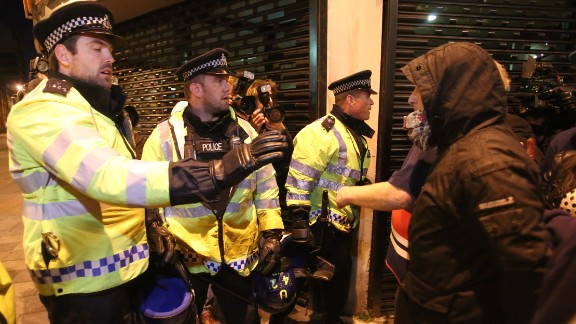 EDL supporters confront police in Woolwich on May 22.