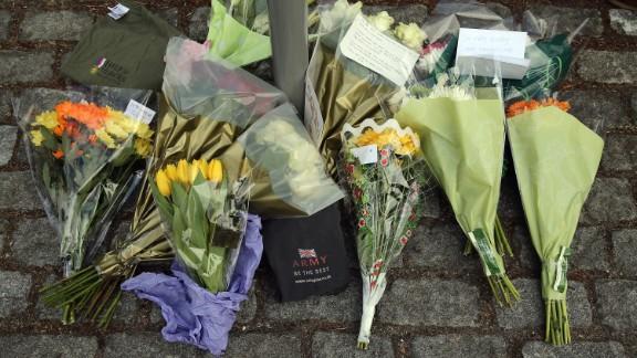 Flowers lie outside Woolwich Barracks on May 23.