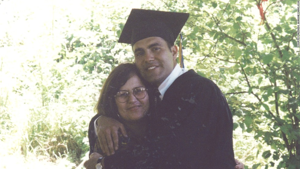 Quinones-Hinojosa attended community college and then finished a bachelor's degree at the University of California, Berkeley. Here, he's with his mother at the Berkeley graduation in 1994.