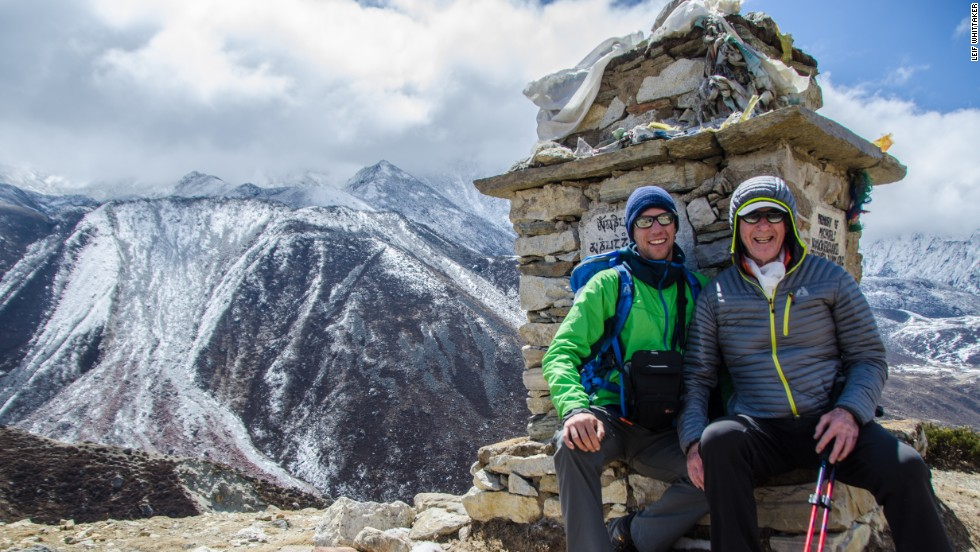 Jim and Leif pause for a moment on the trail to Mount Everest Base Camp in 2012.