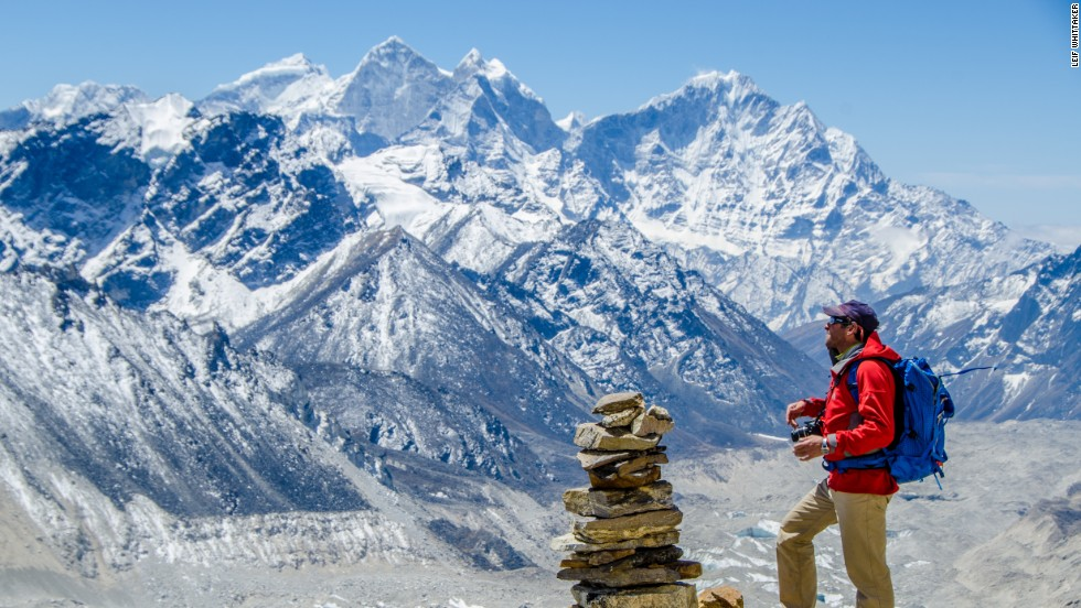 Expedition member Dave Hahn peers out at the Himalaya from Pumori Camp I in 2012.