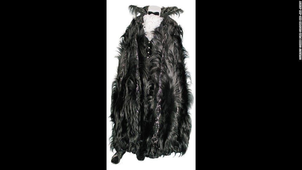 A black upside-down monkey fur cape