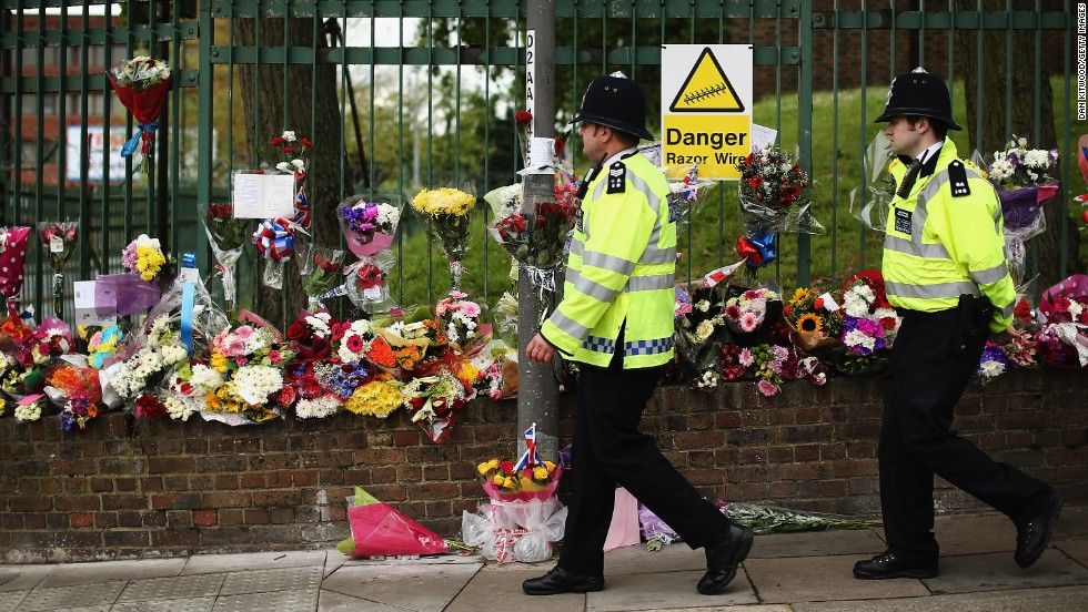 Flowers lay close to the scene where Rigby was killed on May 24, in London.