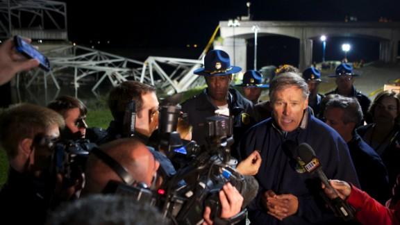 Washington Gov. Jay Inslee addresses the media at the scene of the bridge collapse on May 23.