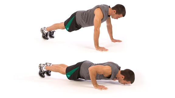 Push-up: Works upper body