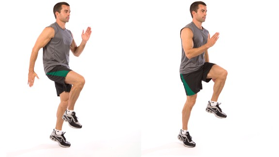 High knees: Works total body