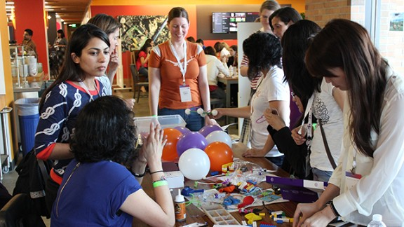 Women developers team up at Google San Francisco to build projects using littleBits electronic modules and other supplies.