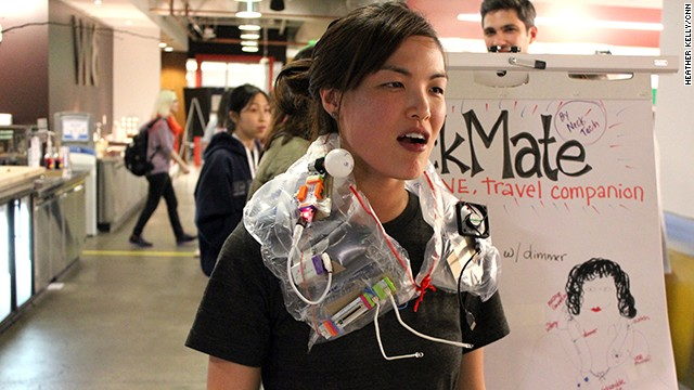 At the Women Techmakers Social, one team created the ultimate travel pillow that included a fan and reading lights.