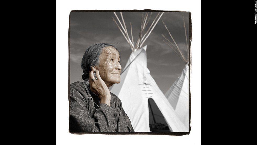<strong>Lucille Windy-Boy, 71 (Rocky Boy, Montana)</strong><br />Lucille, a recent widow, is known across the reservation for the high-quality tepees she sews. Her husband was an important spiritual leader in the territory. When Borges met Lucille, she was surrounded by some of her 42 grandchildren and 32 great-grandchildren. They proudly told him that Lucille and her husband had started college five years ago and earned their bachelor's degrees together, inspiring all the young people in their community.