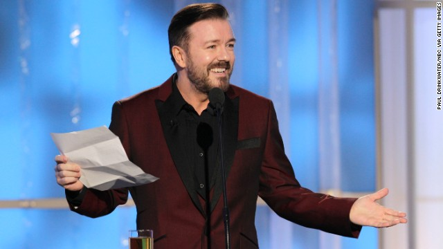 Ricky Gervais during the 69th Annual Golden Globe Awards in January 2012.