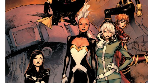 """For the first time in its 50-year history, the X-Men will be made up  entirely of women: Storm, Rogue, Jubilee, Kitty Pryde, Rachel Grey and Psylocke make up the mutant team in """"X-Men"""" #1, in stores May 29. Check out more of this exclusive look at that first issue (hide captions to get the full picture)."""