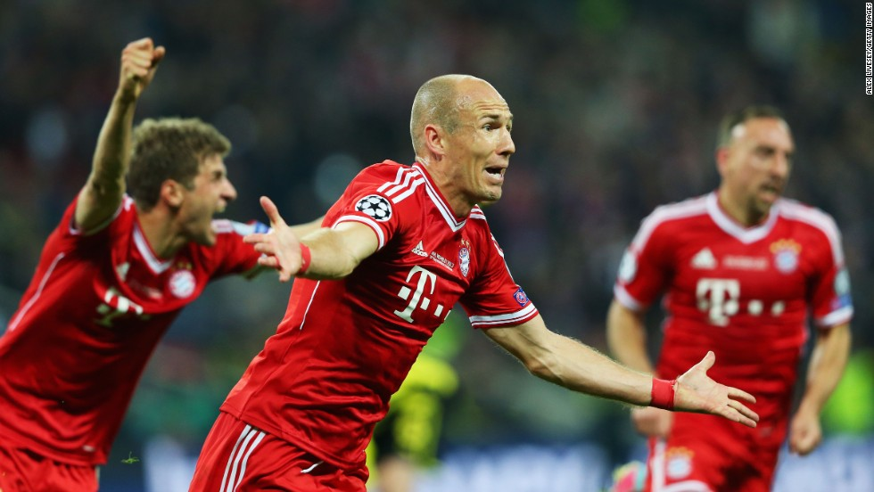 Arjen Robben of Bayern Munich celebrates after scoring the winning goal against Borussia Dortmund during the UEFA Champions League final at Wembley Stadium in London on Saturday, May 25. Bayern defeated Dortmund 2-1.
