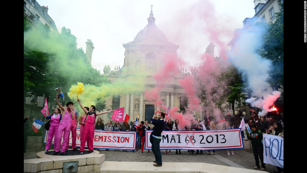 Members of groups opposing same-sex marriage gather on Thursday, May 16, in front of the Sorbonne in Paris.