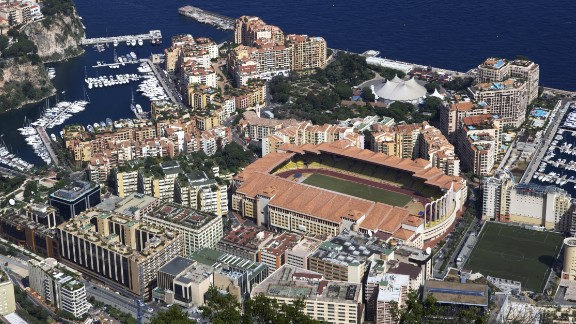 Monaco's Stade Louis II is located in the idyllic French Riviera on the Mediterranean coast. As a commercial center, the city-state has come to attract a wealthy clientele.