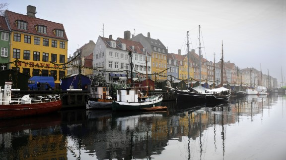 A general view of a canal in the Nyhaven area of  Copenhagen in 2009. Denmark is the world