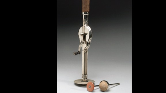 """The """"Veedee"""" vibratory massager had two attachments. It is German and dates to between 1901 and 1930. Massage was considered an effective treatment for combating almost any ailment in the late 1800s, according to the museum"""