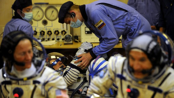 The crew have their space suits tested on May 28.