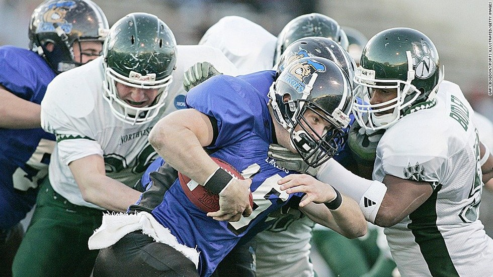 Finnerty fights through the pack during the championship game in December 2005. Grand Valley defeated Northwest Missouri State 21-17.