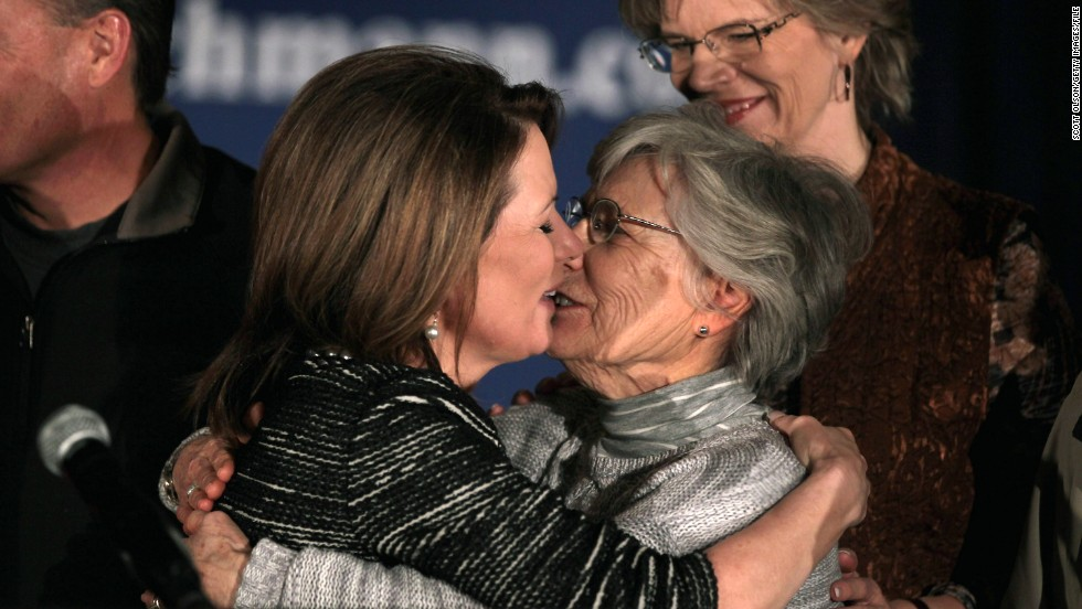 Bachmann embraces her mother, Arlene Jean, after announcing at a January 2012 news conference in West Des Moines, Iowa, that she was ending her presidential campaign. Bachmann finished sixth in the Iowa caucuses.