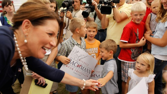 Bachmann greets supporters at a GOP picnic in Humboldt, Iowa, in August 2011 ahead of the straw poll.
