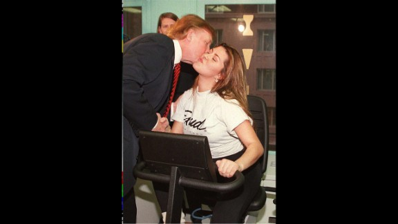 Alicia Machado, Miss Universe 1996, risked her crown after gaining some weight. She lost the weight and kept her title. Pictured, Machado kisses Donald Trump, owner of the Miss Universe pageant, during her daily workout in January 1997.