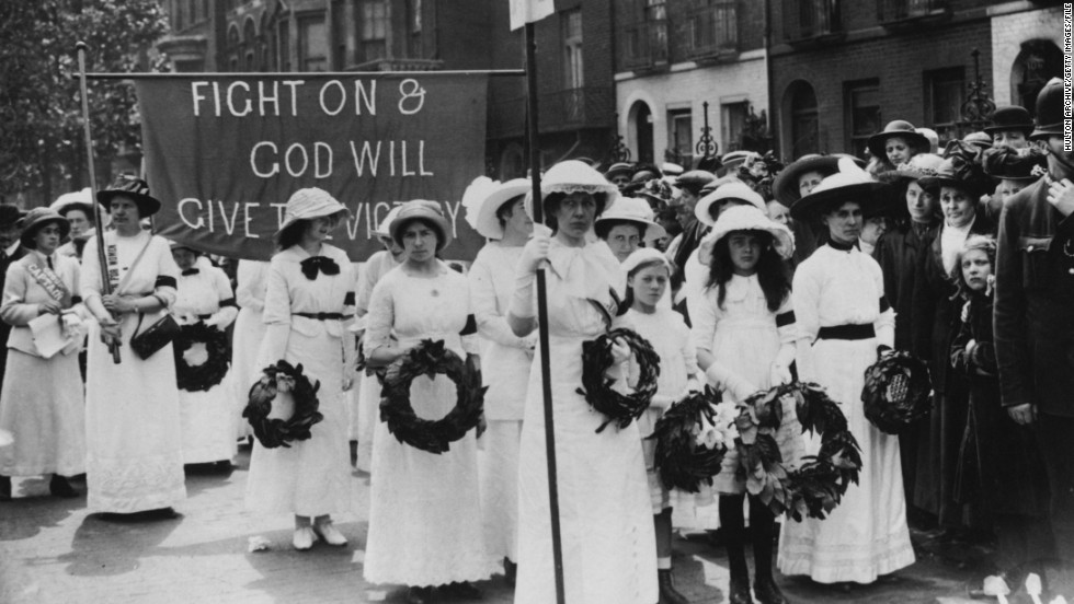 "The Suffragettes -- women's rights campaigners around the turn of the 20th century -- were known for their distinctive wide-brimmed hats adorned with flowers. ""What's interesting about the suffrage movement  is that they didn't necessarily disguise their gender,"" said co-curator Donna Loveday. ""They dressed as Edwardian women, to present themselves as rational and ladylike, when they were portrayed by the media as mannish and vulgar."""