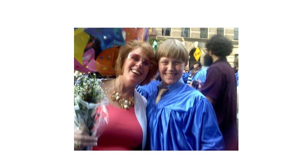 Este Osofsky-McGonigle and her son, Zachary, after her stroke.