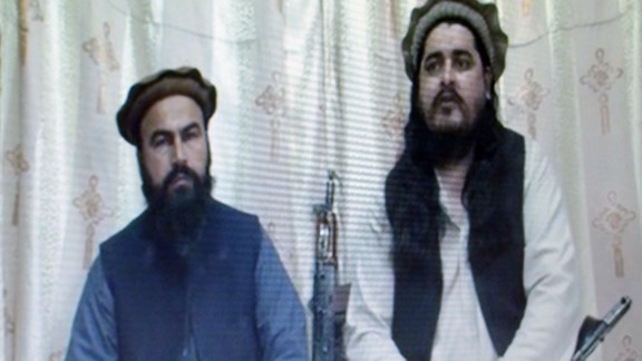This undated image by the Tehreek-e-Taliban Pakistan shows the leader Hakimullah Mehsud and his deputy Wali-ur Rehman.