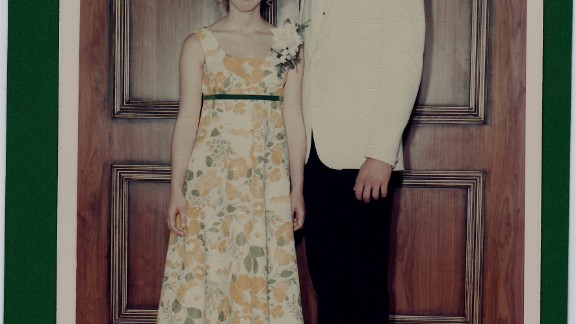 "1968: Patricia Helen Hill and her future husband, Bob, went to the Westwood High School prom in Winnipeg, Manitoba. ""My mother actually made the dress and it was very heavy,"" she said, ""more like drapery material."" She changed out of the dress after the dance and went on a riverboat cruise. ""Everyone at the prom was invited!"" she said."