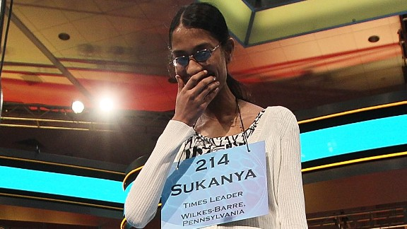 "Sukanya Roy won in 2011 with the word ""cymotrichous,"" an adjective that means ""having the hair wavy."""