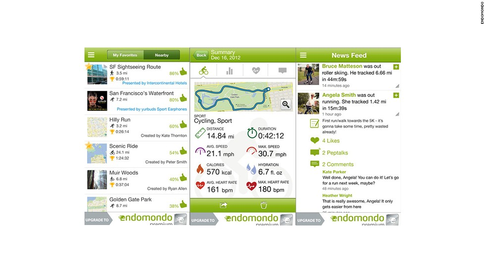 "One of the more social tracking apps, <a href=""http://www.endomondo.com"" target=""_blank"">Endomondo</a> offers public challenges for a variety of sports. Leaderboards show things like who had logged the most walking miles for the month or spent the most time being active, as well as comments from participants. The apps have a newsfeed for communicating with workout buddies in real time."