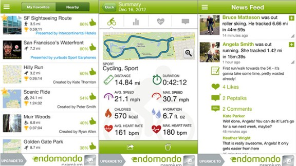 One of the more social tracking apps, Endomondo offers public challenges for a variety of sports. Leaderboards show things like who had logged the most walking miles for the month or spent the most time being active, as well as comments from participants. The apps have a newsfeed for communicating with workout buddies in real time.