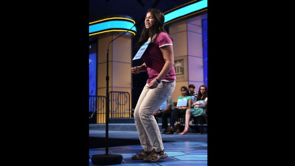 "Amber Born of Marblehead, Massachusetts, celebrates after she spells ""pediculicide,"" an agent for destroying lice, in round five on May 30."