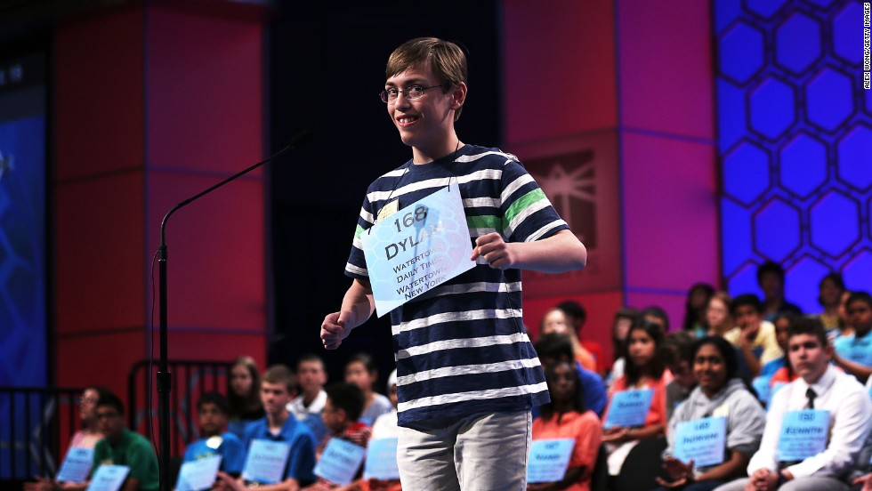 "Dylan O'Connor of Alexandria Bay, New York, smiles after spelling ""acervation,"" which means a heaping up, in round three on Wednesday, May 29."